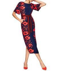 Boden - Red Kimono Sleeve Floral Print Dress - Lyst