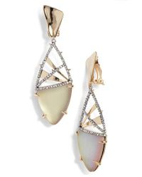 Alexis Bittar - Metallic Crystal Crosshatch Lucite Earrings - Lyst