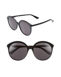 Gucci Black 59mm Round Sunglasses