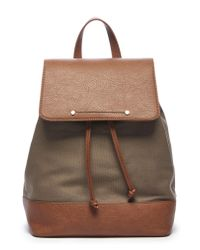 Sole Society - Green Canvas & Faux Leather Backpack - Lyst