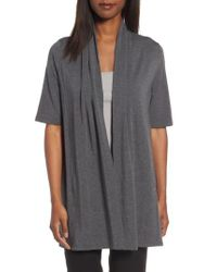 Eileen Fisher | Gray Tencel Kimono Cardigan | Lyst