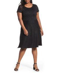 Taylor Dresses - Black Metallic Knit Fit & Flare Dress - Lyst