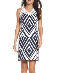 Taylor Dresses - Blue Texture Sheath Dress - Lyst