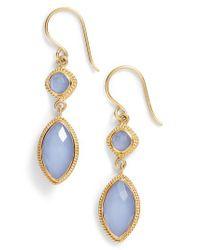 Anna Beck   Blue Double Drop Semiprecious Stone Earrings   Lyst