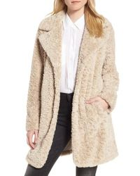 Kenneth Cole - Natural Faux Fur Coat - Lyst