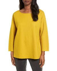 Eileen Fisher - Yellow Boiled Wool Jersey Top - Lyst
