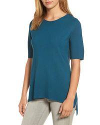 Eileen Fisher   Blue Tencel Knit Top   Lyst