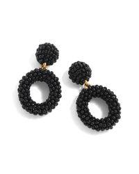 J.Crew - Black J.crew Mini Beaded Drop-hoop Earrings - Lyst