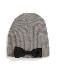f255727b126 Lyst - Kate Spade Grosgrain Bow Knit Beanie in Gray