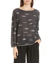 Eileen Fisher - Black Bateau Neck Sweater - Lyst