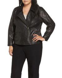 Eileen Fisher - Black Leather Moto Zip Jacket - Lyst