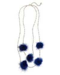BaubleBar - Blue Loulou Genuine Marten Fur Pompom Layered Necklace - Lyst