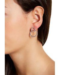 Joe Fresh - Multicolor Crystal Double Circle Front & Back Earrings - Lyst
