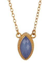 Anna Beck - Metallic 18k Gold Plated Sterling Silver Blue Chalcedony Marquis Necklace - Lyst