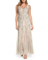 Adrianna Papell - Metallic Beaded Double V-neck Gown - Lyst
