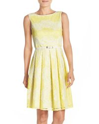 Adrianna Papell - Yellow Lace Fit & Flare Dress - Lyst