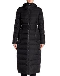 Vince Camuto - Black Long Belted Down Coat - Lyst