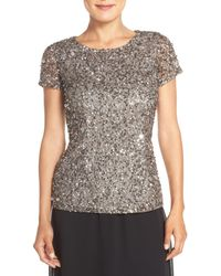 Adrianna Papell - Gray Cap Sleeve Beaded Mesh Blouse - Lyst
