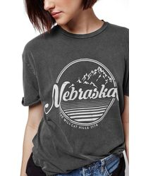 TOPSHOP - Gray 'nebraska' Graphic Tee - Lyst