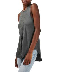 TOPSHOP | Gray Embroidered Washed Vest | Lyst