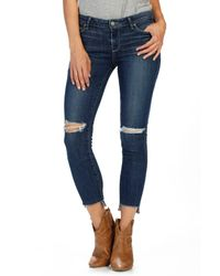 PAIGE - Blue Verdugo Step Hem Ankle Skinny Jeans - Lyst