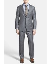 Hickey Freeman | Gray Beacon Charcoal Windowpane Two Button Notch Lapel Wool Classic Fit Suit for Men | Lyst
