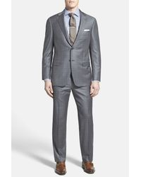 Hickey Freeman - Gray Beacon Charcoal Windowpane Two Button Notch Lapel Wool Classic Fit Suit for Men - Lyst