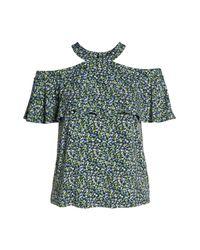 MICHAEL Michael Kors - Multicolor Wildflower Flounce Cold Shoulder Top (plus Size) - Lyst