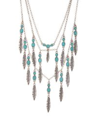 Lucky Brand - Multicolor Feather Turquoise Layered Necklace - Lyst