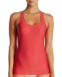 bb841230f5ab6 Lyst - Spanx Perforated Racerback Tank Top in Red