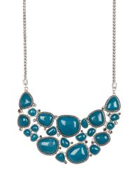 Lucky Brand - Blue Stone Halo Statement Necklace - Lyst