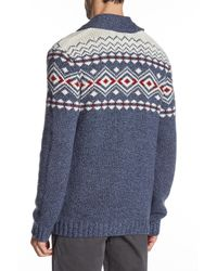 Lucky Brand - Blue Lambswool Lodge Cardigan for Men - Lyst
