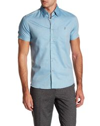 Ted Baker Green Wooey Texture Short Sleeve Shirt for men