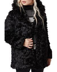 TOPSHOP | Black Urban Shaggy Faux Fur Coat | Lyst