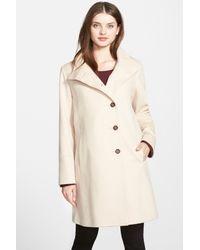 Fleurette - Natural Wool Stand Collar Car Coat (regular & Petite) - Lyst