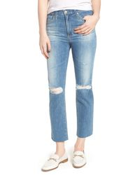AG Jeans - Blue The Isabelle High Waist Crop Straight Leg Jeans (13 Years Saltwater) - Lyst