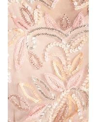 Adrianna Papell - Pink Embellished Mesh Blouson Gown - Lyst