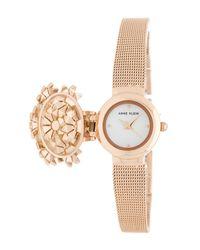 Anne Klein - Metallic Women's Mother Of Pearl Dial Mesh Bracelet Watch, 20mm - Lyst