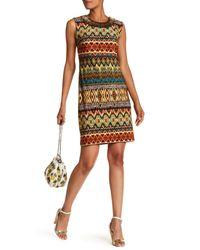 Sandra Darren Brown Sleeveless Beaded Collar Dress