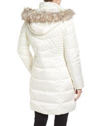Ellen Tracy - White Faux Fur Trim Matte Satin Down Coat - Lyst
