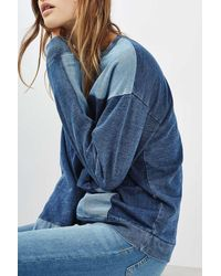 TOPSHOP - Blue Denim Patchwork Sweater - Lyst