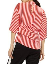 TOPSHOP - Red Stripe Tuck Detail Top - Lyst