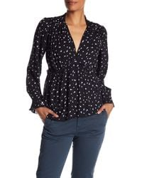 Lucky Brand - Black Printed Frill Top - Lyst