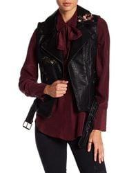 Vigoss - Black Embroidered Leather Vest - Lyst