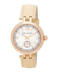 Ted Baker   Metallic Women's Quartz Leather Strap Watch   Lyst