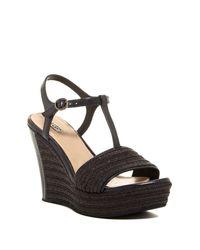 UGG | Black Fitchie T-strap Platform Wedge Sandal | Lyst
