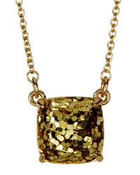 Kate Spade - Metallic Gold Plated Mini Square Pendant Necklace - Lyst