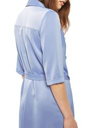 TOPSHOP - Blue Double Breasted Wrap Dress - Lyst