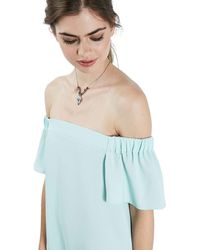 TOPSHOP - Blue Off The Shoulder Trapeze Dress - Lyst