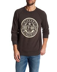Obey | Brown Worldwide Dissent Long Sleeve Pullover for Men | Lyst